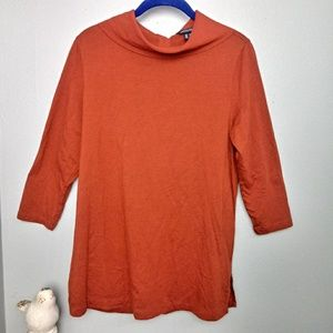 Lands End Long Sleeve Button Collar Top Medium